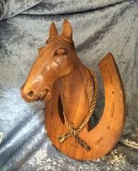 wooden horse head sculpture
