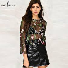 2019 <b>Pinky Is Black</b> Sexy Flowers Embroidered Mesh <b>Shirts</b> See ...