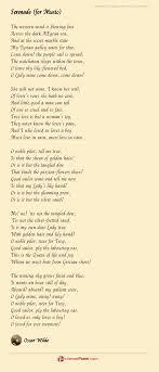 serenade for poem by oscar wilde