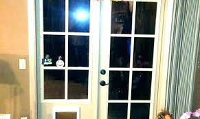 exterior door with dog installed pet insert for sliding proof glass screen doggie french