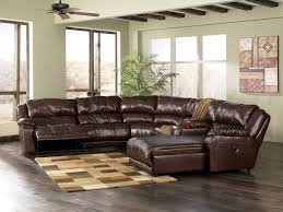 L Shaped Brown Top Grain Leather Sofa With Chaise And Recliner