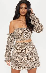 Lovely day nights outfits ideas makes look beautiful Summer Cream Leopard Print Button Detail Mini Skirt Missguided Day Drinks Day Sesh Prettylittlething