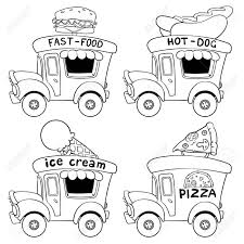 Cartoon fast food cars outlined on a white background royalty free