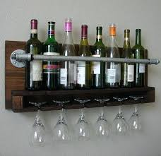 wall mounted wine glass rack industrial rustic modern 8 bottle wall mount wine rack with 6
