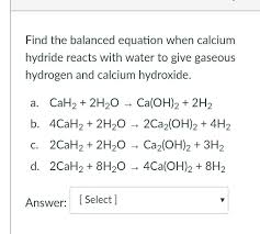 chemical equation for water and calcium