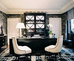 black and white office decor. Modern Special Home Office Design Cozy Black White Ideas With Two Chairs And Decor N
