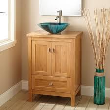 narrow depth bathroom vanities. Natural Bamboo Narrow Depth Bathroom Vanity With Vessel Sink And Brushed Nickel Faucet Vanities E