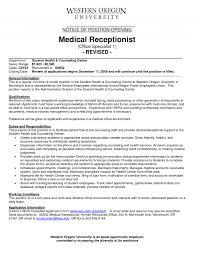 medical front desk receptionist job duties hostgarcia office assistant job description sample recentresumes com