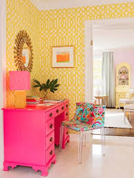 pink office desk. High-Low Workspace\u2014 Get The Look Of This Sunny Yellow + Pink Workspace Office Desk A