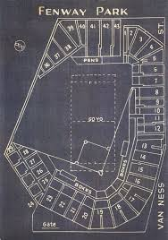 Fenway Park Football Seating Chart Vintage Boston Red Sox Fenway Park Blueprint On Canvas