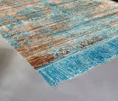 contemporary bamboo silk rug in blue and beige