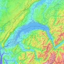 Egal ob man eines der gepflegten strandbäder. Topografische Karte Genfersee Hohe Relief