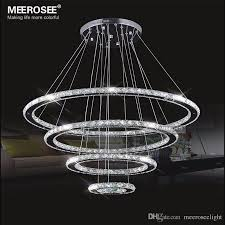 mirror stainless steel crystal diamond lighting fixtures 4 rings led pendant lights cristal dinning decorative hanging lamp lamp hanging designer pendant