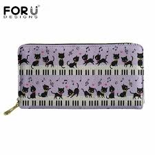 <b>FORUDESIGNS Cartoon Cats</b> Music Note <b>Print</b> Pretty Women Wallet ...