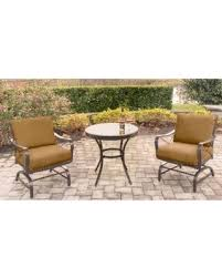 hanover patio furniture. Hanover Summer Nights Tan Aluminum 3-piece Cushioned Rockers And Table Chat Set, Patio Furniture E