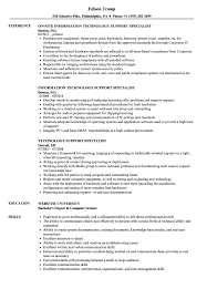 Technical Support Specialist Resume It Client Samples