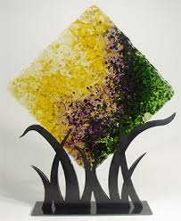 Fused Glass Display Stands Square Grass Glass Panel Brenda Griffith 61