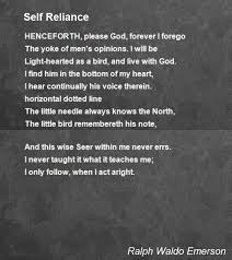 emerson poems self reliance by ralph waldo emerson hunter
