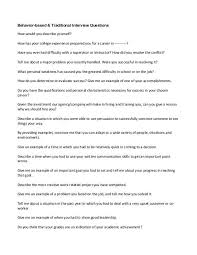 Examples Of Behavioral Interview Questions Behavior Based Traditional Interview Questions How Would You