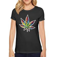 Amazon Com Short Sleeve Womens Three Color Cannabis Leaf