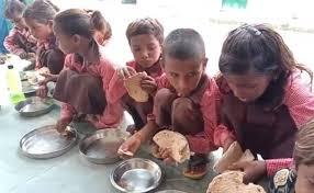 Under Flagship Nutrition Scheme Up Schoolchildren Seen Eating Roti Salt