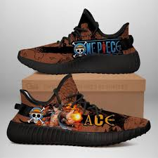 This one piece photo might contain anime, comic book, manga, and cartoon. Portgas D Ace Yz Sneakers One Piece Anime Shoes Yeezy Sneakers Shoes Black Kuroprints