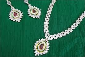 wedding necklace designs droplet motif bridal american diamond set