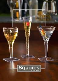 bulk plastic cocktail glasses square disposable long stem wine 4