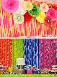 Paper Streamer Decorations 11 and 12 - colorful twisted streamers, cut  fringe contrasting streamers