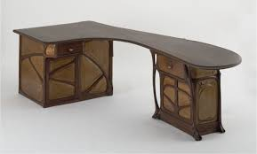 art deco office desk. Furniture Unique Shape Computer Table Made Of Wood Material In Two Tone Finish Having Carved Accent Art Deco Office Desk