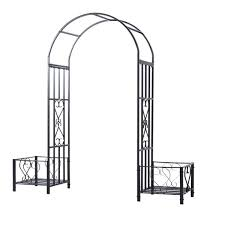 outsunny 7ft metal garden arch backyard