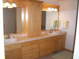 bathroom cabinet design ideas. Chic Modern Double Sink Bathroom Vanity Design Ideas With Brown Wood And Cream Countertop Also Clssic Laminated Lighting Plus Glass Mirror Shelf Excellent Cabinet