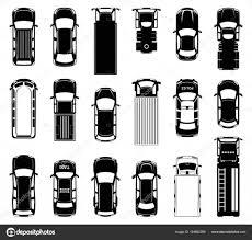 道路上の異なる屋根車の平面図です自動車の黒ベクトル アイコン