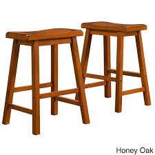 Amazon.com: INSPIRE Q Salvador Saddle Back 24-inch Counter Height Stool  (Set of 2) in Honey Oak: Kitchen & Dining