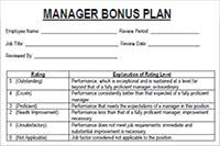 Restaurant Manager Review Forms Manager Bonus Review Template