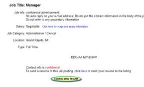 This is really the only way that the job seeker will be able to find the  email address from a job on CareerMatrix.