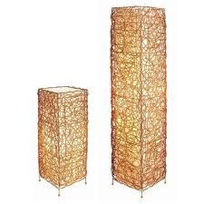 rattan lighting. Rectangle Rattan Lamp Set Tan Table With Floor Lighting M