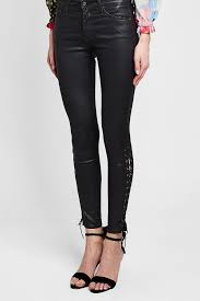 side lace up faux leather pants view fullscreen