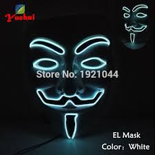 Mask Decorating Supplies Halloween Fashion Decoration Supplies EL Wire Glowing Mask V for 99