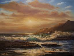 joseph porus artwork sunset on the left coast original painting oil beach art