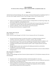 Sample Project Manager Resume It Infrastructure Samples Technical