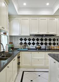 White Kitchen Cabinets, Black And White Tile Backdrop