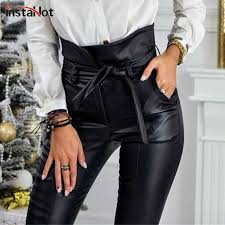 InstaHot Black High Waist Pencil <b>Faux Leather</b> Pants Women ...