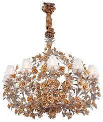 razzetti tiziano 12 arm chandelier gold leaf and ivory