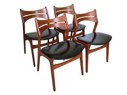 four 4 erik buck danish teak dining chairs for chr