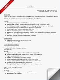 Bartending Resume Template Format Bartender Resume Sample Best