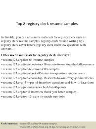Computer Clerk Sample Resume Beauteous Top 44 Registry Clerk Resume Samples