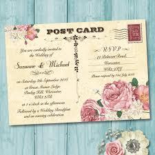 Vintage Postcard Pink Roses Wedding Invitation Elisa By Design