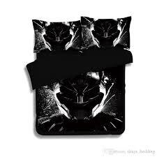 2018 new 3d bedding set queen black panther pattern duvet cover set polyester printed bed linens bedroom twin full king us au size king size comforter set