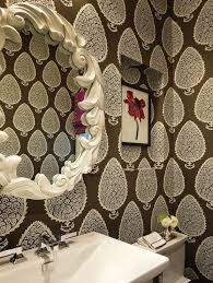 Palmer Weiss   Bathrooms   Katie Ridder Leaf Wallpaper, Oval Faux White  Coral Framed Mirror, Katie Ridder Wallpaper, Brown Leaf Wallpaper, B.